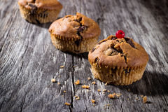 Chokladmuffin på den wood bakgrunden Royaltyfri Foto
