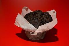 Chokladmuffin på en röd bakgrund Fotografering för Bildbyråer