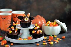 Chokladmuffin` slår till ` - läckra bagerisötsaker för berömmen av allhelgonaaftonen Royaltyfria Bilder
