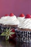Chokladmuffin som överträffas med jordgubbar Arkivfoto