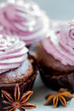 Chokladmuffin som dekoreras med bärkräm Royaltyfri Fotografi