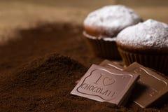 Chokladmuffin som dekoreras med sockerpulver arkivfoto