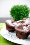 Chokladmuffiner med socker Arkivbilder