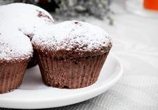 Chokladmuffiner med socker på plattan Royaltyfri Foto