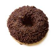 Chokladmunk med stänk på vit Royaltyfria Foton