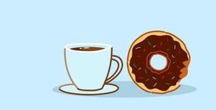 Chokladmunken med begrepp för avbrott för lunch för efterrätt för kaka för kaffekopp sött nytt bakat skissar horisontal royaltyfri illustrationer