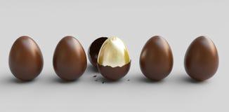 Chokladpåskägget som är öppet och som är nära med det guld- ägget, 3d framför illustrationen royaltyfri illustrationer