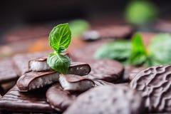 Chokladpepparmintkakor Mintkaramell pepparmint menthol Svart choklad med pepparmintkräm Svart choklad med mintkaramellstoppning royaltyfria bilder