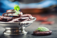 Chokladpepparmintkakor Mintkaramell pepparmint menthol Svart choklad med pepparmintkräm Svart choklad med mintkaramellstoppning royaltyfri foto