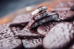 Chokladpepparmintkakor Mintkaramell pepparmint menthol Svart choklad med pepparmintkräm Svart choklad med mintkaramellstoppning arkivfoton