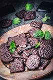 Chokladpepparmintkakor Mintkaramell pepparmint menthol Svart choklad med pepparmintkräm Svart choklad med mintkaramellstoppning arkivbilder