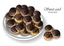 Chokladprofiteroles eller söt realistisk efterrättvektor för profitroli Royaltyfri Bild