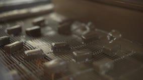 Chokladsötsaker på transportören Produktion av choklader Fabriksproduktion av choklader lager videofilmer