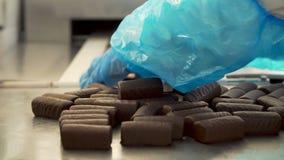 Chokladsötsaker på transportbandet stock video