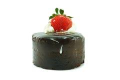 ChokladShortcake med jordgubben Royaltyfri Fotografi