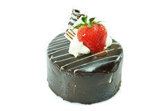 ChokladShortcake med jordgubben Royaltyfria Bilder