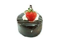ChokladShortcake med jordgubben Arkivfoto