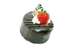 ChokladShortcake med jordgubben Arkivfoton