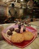 Chokladsköldpaddor och palmträd på ett socker sätter på land med kakor på en röd glass platta och en bakgrund av en österlänningt fotografering för bildbyråer