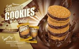 Chokladsmörgåskakor stock illustrationer