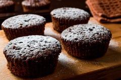 ChokladSouffle med pudrat socker Fotografering för Bildbyråer