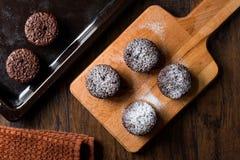 ChokladSouffle med pudrat socker Royaltyfria Foton