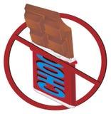Chokladstång på förbud royaltyfri illustrationer