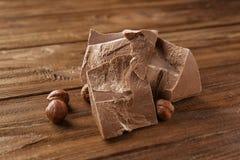 Chokladstycken med muttrar Royaltyfri Fotografi