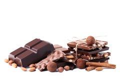 Chokladstycken med muttrar Fotografering för Bildbyråer