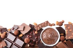 Chokladstycken med muttrar Royaltyfri Bild