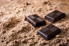 Chokladstycken på chokladpulver Royaltyfri Bild
