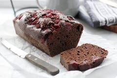 Chokladtårta med hallon Fotografering för Bildbyråer