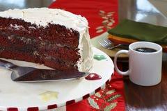 Chokladtårta och kaffe Arkivbilder