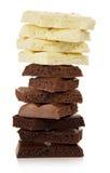 Chokladtornet av olika delar arkivbilder