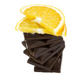 Chokolate bar with orange slice Royalty Free Stock Photo