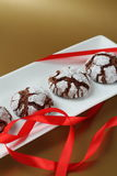 Chokolate crinkles cookies Stock Photo