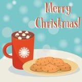 Chokolate e cookies quentes Foto de Stock