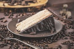 Chokolate kaka på den mörka plattan med smörkräm arkivfoton