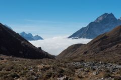 Chola pass,one of pass on Everest base camp trekking route region,Nepal royalty free stock photo