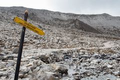 Chola pass sign on everest base camp trekking route royalty free stock photo