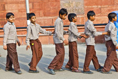 Cholars in uniform visit the Red Fort Royalty Free Stock Image