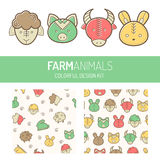 Choldren's colorful design kit with farm animals Stock Images