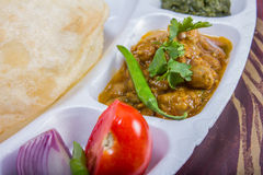 Chole bhature with salad and chutney Royalty Free Stock Photos