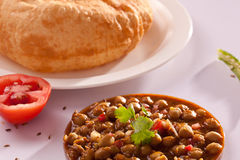 Chole Bhature - un plat populaire de l'Inde du nord images libres de droits