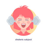 Choleric subject image. Type of temperament. Flat icon of yelling girl with smoke from her ears.  Modern vector illustration of woman with red hair. Image is Stock Image