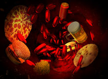 Cholesterin blockierte Arterie, medizinisches Konzept Stockbilder
