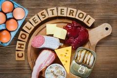 Cholesterinreiche Nahrungsmittel Stockfotos