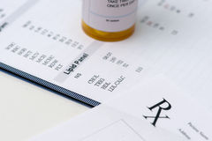 Cholesterol. Patient lab report with high levels of cholesterol and prescription bottle royalty free stock images
