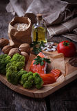 Cholesterol diet, healthy food for heart Stock Images