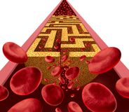 Cholesterol Disease Challenge. And clogged artery medical coronary health risk as a blockage in arteries shaped as a maze or labyrinth with narrow blood cell Stock Photography